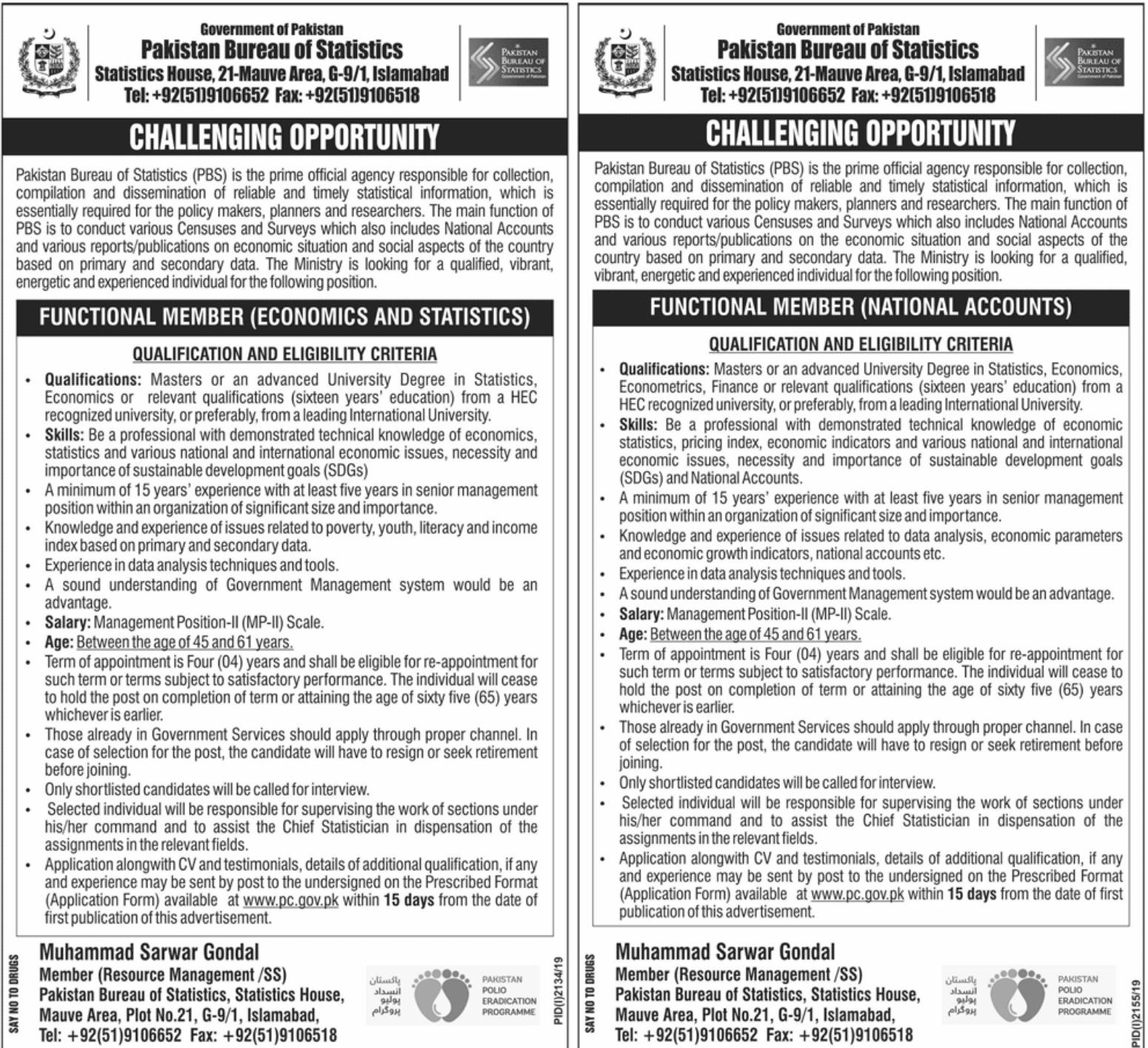 Latest Jobs in Pakistan Bureau of Statistics 2019