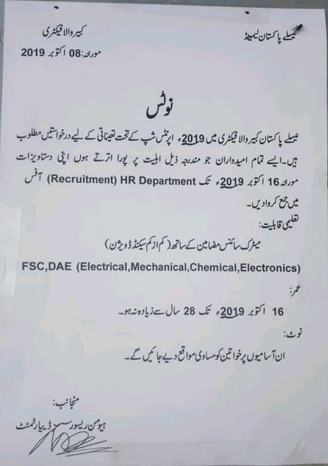 Staff Required in Nestle Pakistan. Kabir Wala Factory