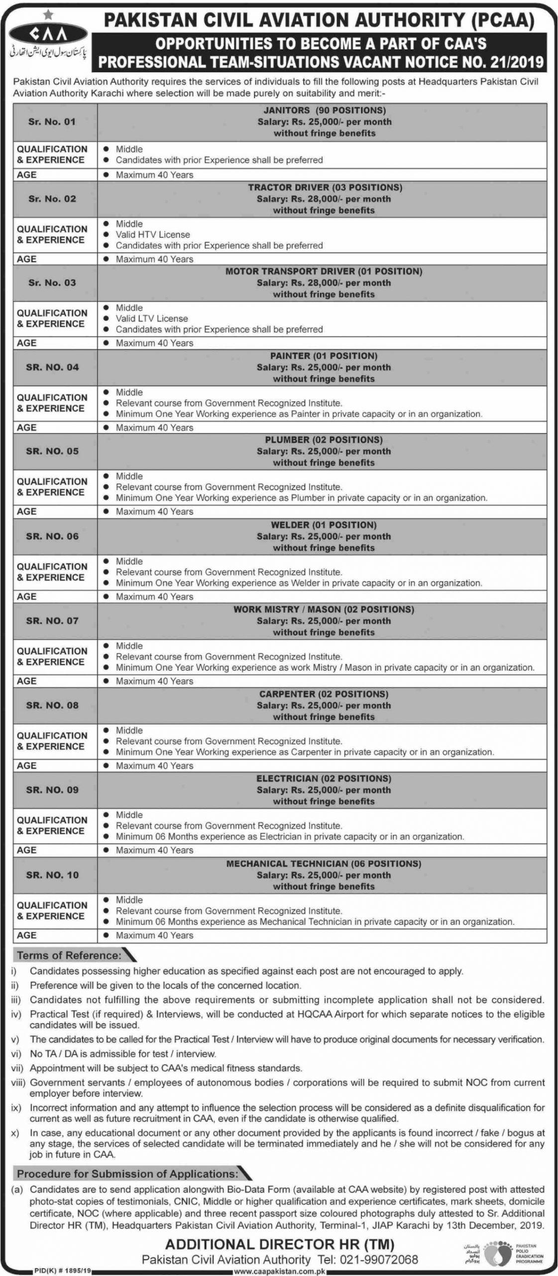 Latest Jobs in Pakistan-Civil-Aviation-Authority-PCAA 2019