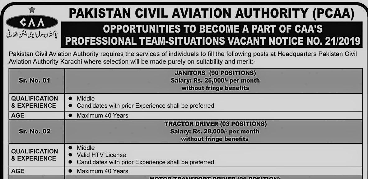Latest Jobs in Pakistan-Civil-Aviation-Authority-PCAA 2019.