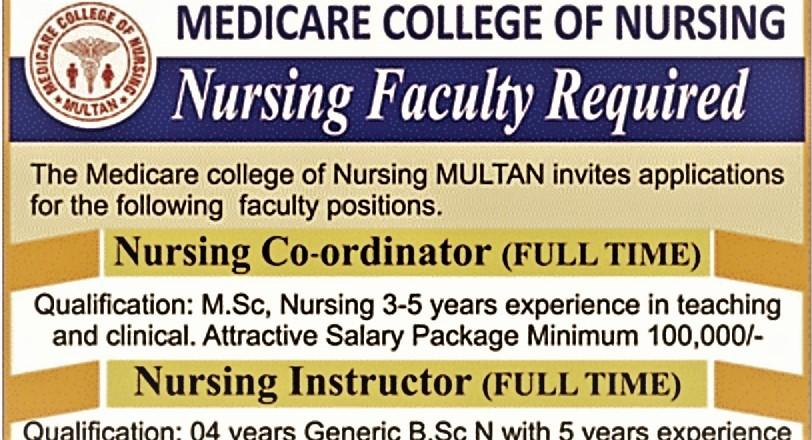 Photo of New Jobs in Medicare College of Nursing Multan-Nursing FacultyRequired