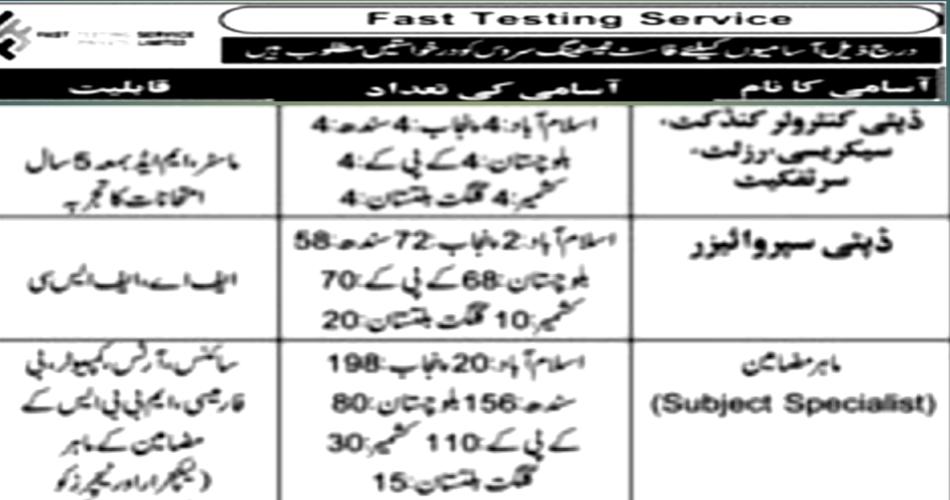 Photo of List of Jobs-Fast Testing Service Pakistan
