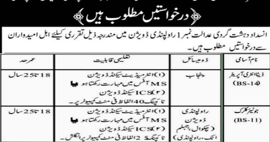 Data Entry Operator Jobs in Anti Terrorism Court R