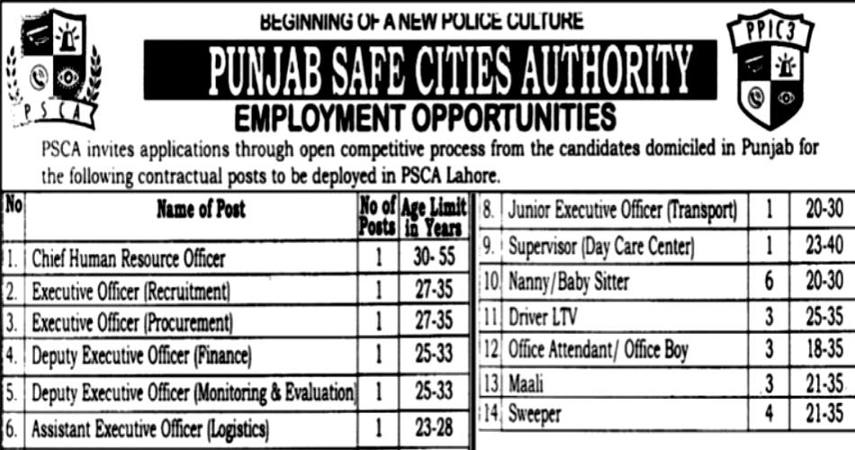 Photo of Job Advertisement of Punjab Safe Cities Authority-Punjab Police PSCA Jobs