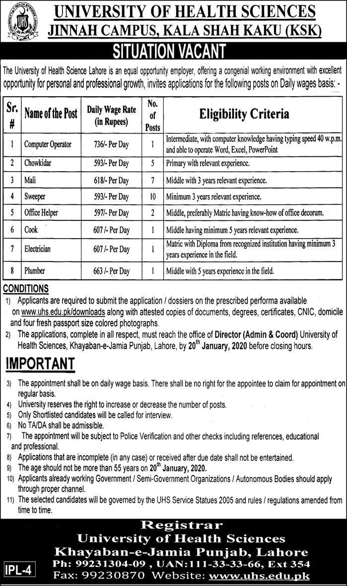 Advertisement of Latest Job inUniversity of Health Sciences KSK
