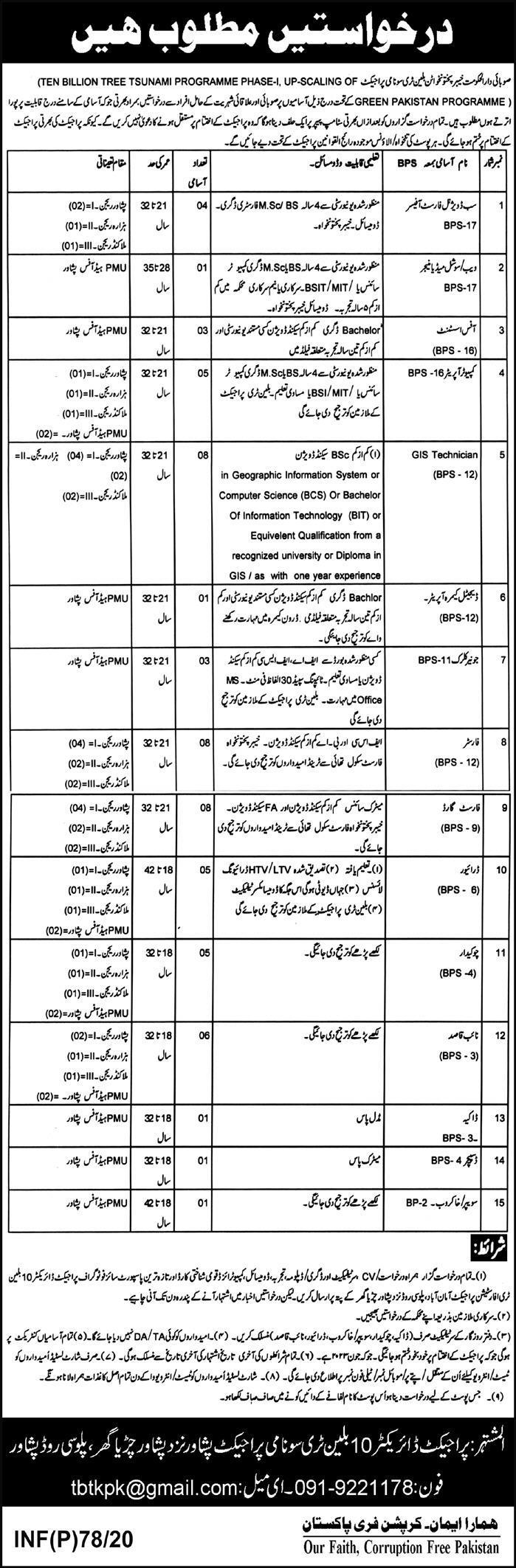Billion Tree Project Jobs 2020 in KPK-Peshawar