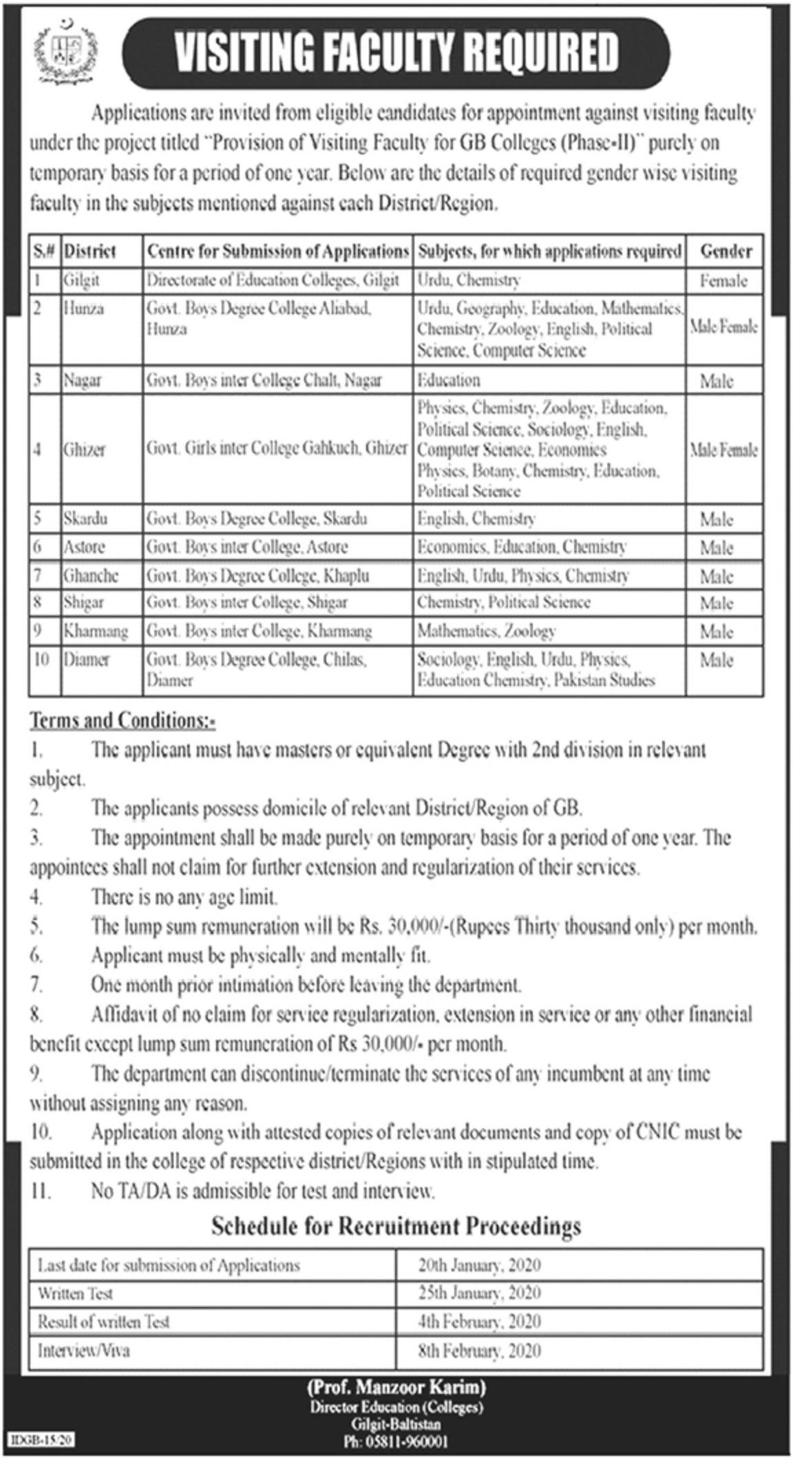 Teaching Jobs 2020 in Education Department Gilgit Baltistan