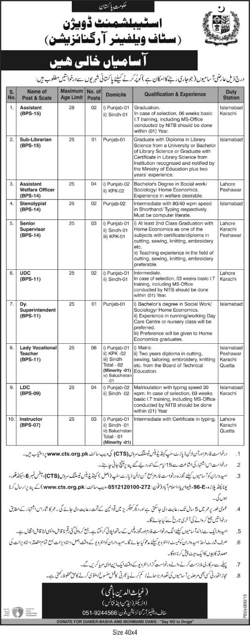 CTS Jobs 2020 Govt Jobs in Establishment Division, Islamabad.