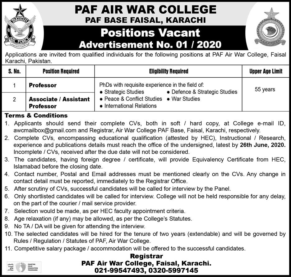 PAF Jobs 2020 Advertisement