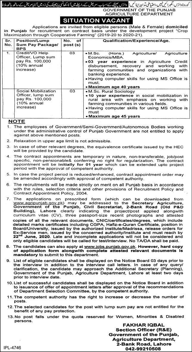 Agriculture Department Jobs 2020 BPS-15 Vacancies
