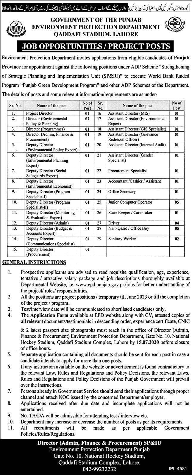 Jobs Advertisement of Punjab Envoirment Protection Department 2020
