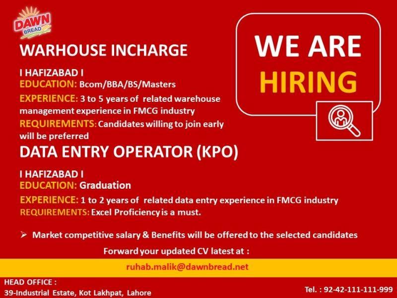 Advertisement of Jobs in Dawn Bread Pvt Ltd. Pakistan