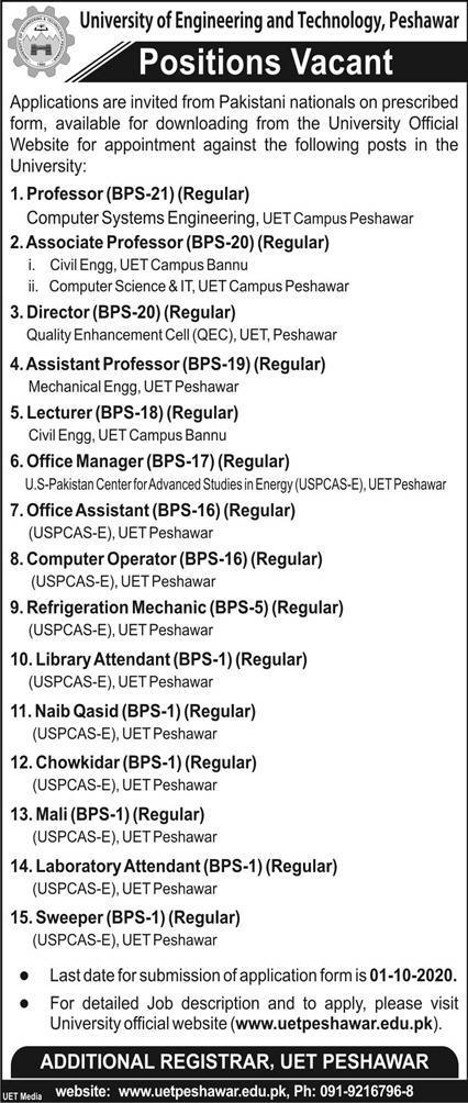Jobs in University of Engineering and Technology UET Peshawar
