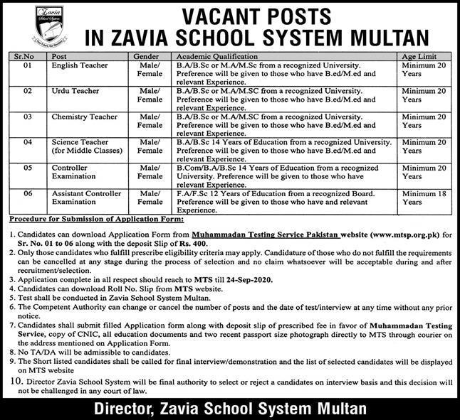 Teaching Jobs in Zavia School System Multan 2020