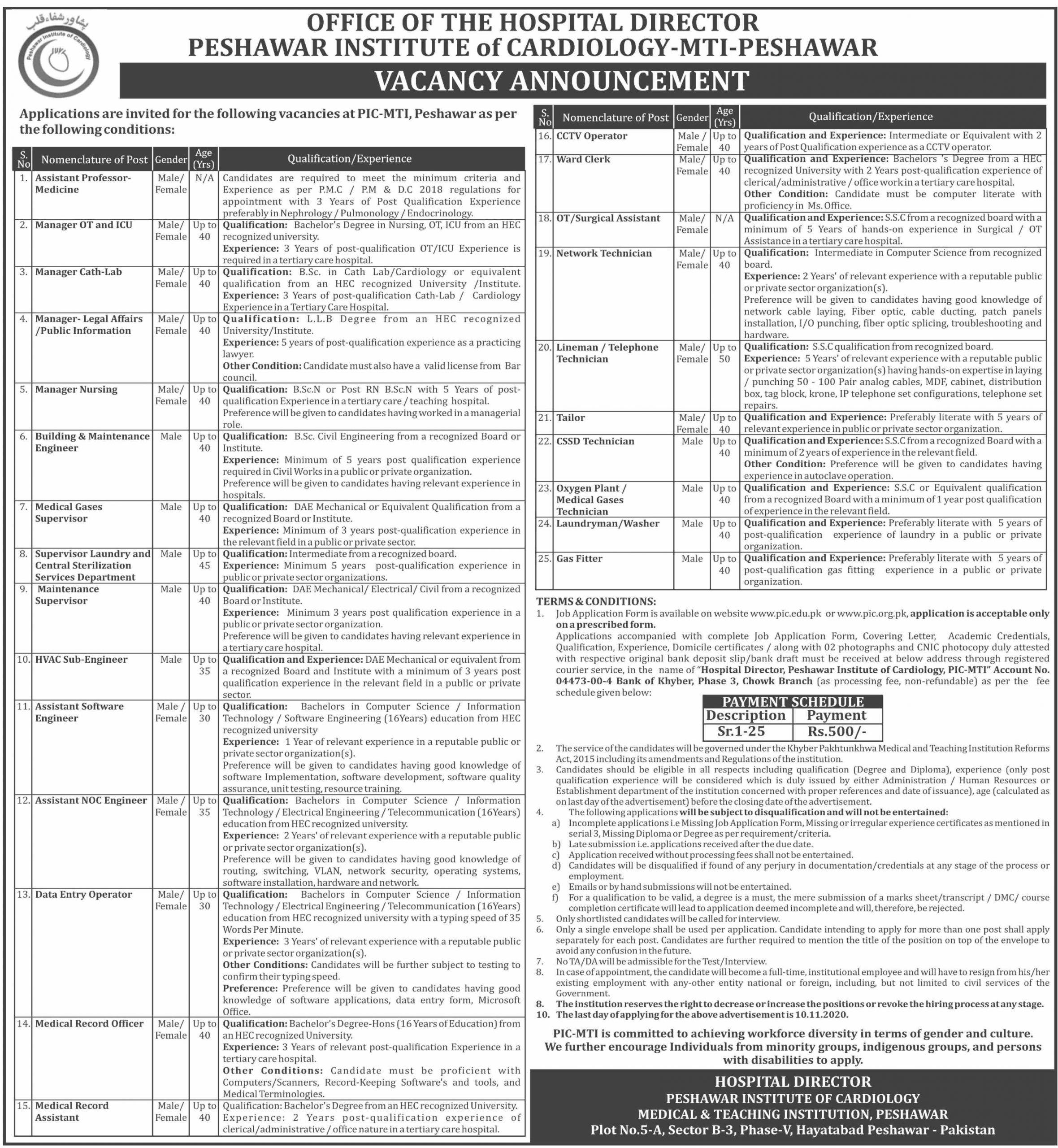 KPK Jobs in Peshawar Institute of Cardiology