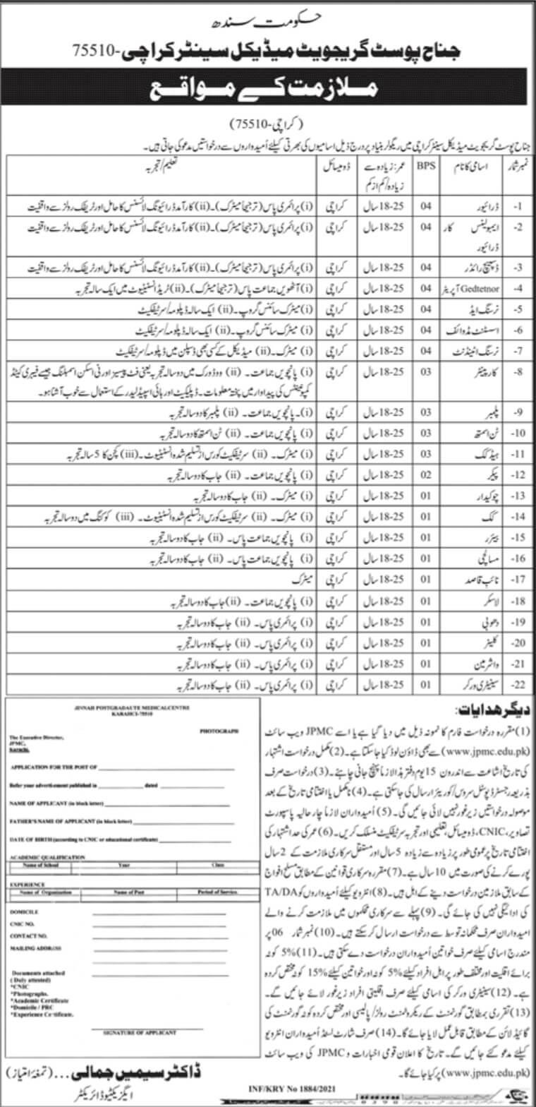 Govt Jobs 2021 Karachi