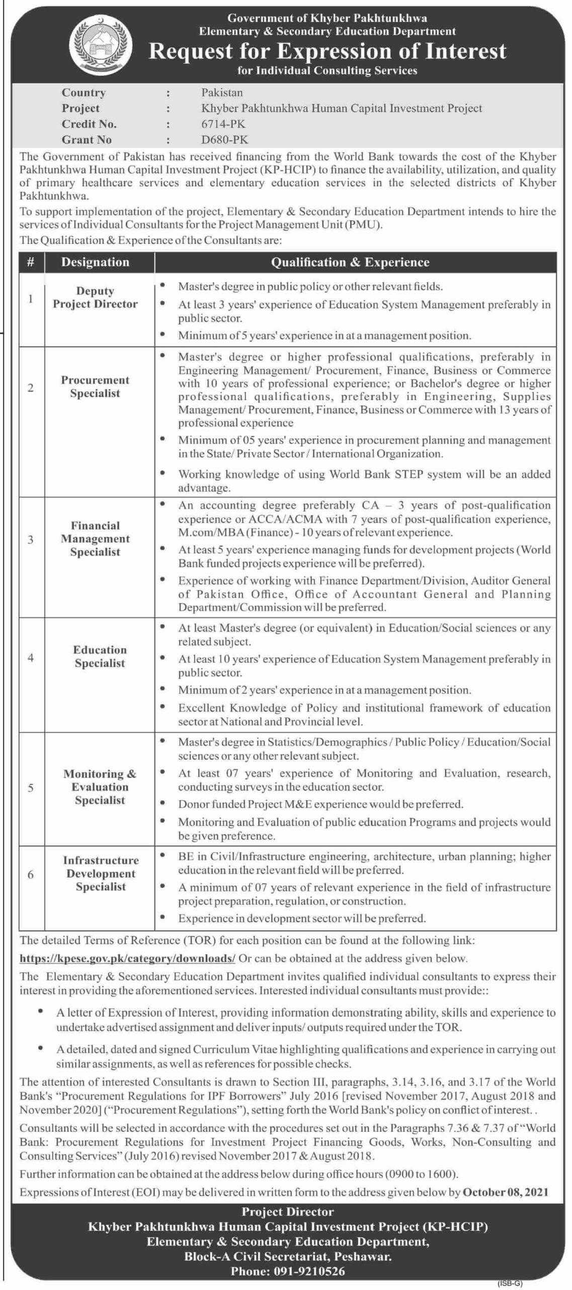 Elementary and Secondary Education KPK Jobs 2021